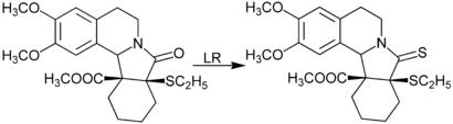 Strukturformeln der Reaktion mit Lawessons Reagenz