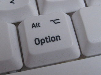 Option key - The Option key may be labeled Alt, or Option, or both, and sometimes the symbol.