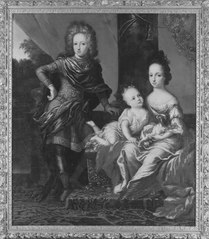 Three children of Charles XI of Sweden: Charles XII also Carl of Sweden, Swedish: Karl XII (1682–1718), Princess Hedvig Sophia Augusta of Sweden (1681-1708) and Ulrika Eleonora the Younger (1688-1741)
