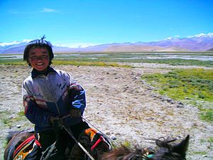 Equestrianism - A young Tibetan rider. Horse riding is an essential means of transportation in parts of the world where the landscape does not permit other means.