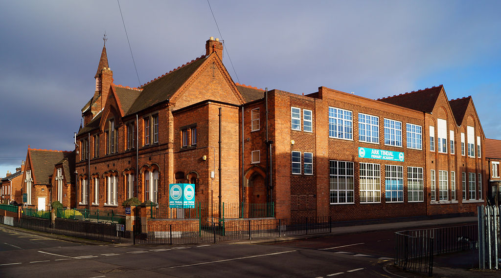 Tindall Street Board School, Balsall Heath, Birmingham, England. A Birmingham board school acquired by the 1891 expansion of Birmingham. Built 1879 and opened 1880 by by Kings Norton School Board. Now used by ARK Tindal Primary Academy.
