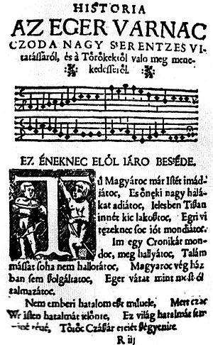 Sebestyén Tinódi Lantos - Tinódi's chronicles about the Siege of Eger (1552)