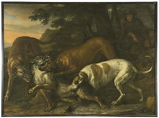 Hounds Belonging to King Karl XI Attacking a Wolf