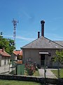 Tower and chimney with stork nest, Rákóczi Street, 2017 Abony.jpg