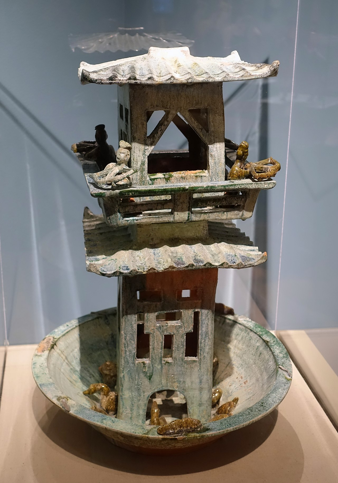 Tower with archers, China, Han dynasty, 206 BC to 220 AD, glazed terracotta - Middlebury College Museum of Art - Middlebury, VT - DSC08205.jpg