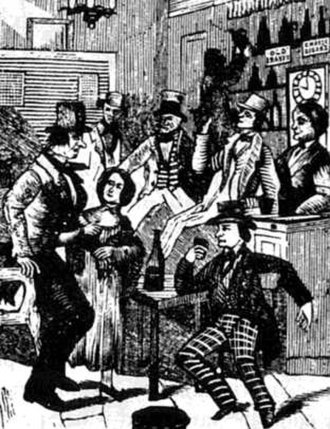 Town drunk - The depraved inhabitants of a tavern, from a nineteenth-century temperance play.