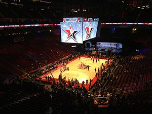 The inside of the Toyota Center hours prior to tip-off of the 62nd NBA All-Star  game on Sunday d12a42094