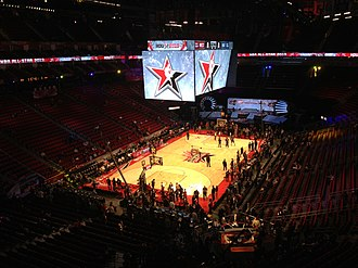 2013 NBA All-Star Game - The inside of the Toyota Center hours prior to tip-off of the 62nd NBA All-Star game on Sunday, Feb. 17, 2013. The arena crew make the last preparations as spectators start to fill the arena.