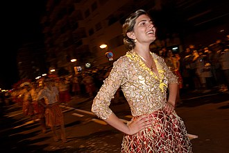 Póvoa de Varzim Holiday - Tricana girl in a Rusga parade.