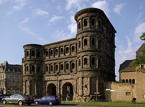 Ancient Roman defensive walls - The Porta Nigra of Trier, Germany, capital of the Roman province of Gallia Belgica, constructed between 186 and 200 AD