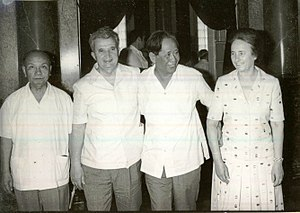 Lê Duẩn - Lê Duẩn and Trường Chinh with Nicolae and Elena Ceaușescu from the Socialist Republic of Romania