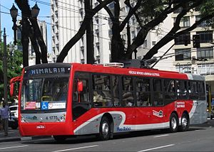 Trolleybuses in São Paulo - A 2011-built CAIO/Scania three-axle trolleybus  of the SPTrans system