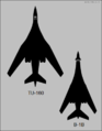 Tupolev Tu-160 and Rockwell B-1B top-view silhouette comparison.png