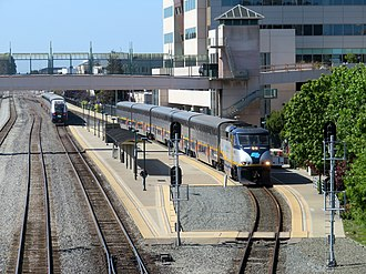 Emeryville station - San Joaquin (left) and Capitol Corridor trains at the station