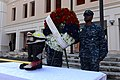 U.S. Navy petty officers first class selected to be chief petty officers lay a wreath as part of a 9-11 memorial ceremony Sept 140911-N-QY759-103.jpg