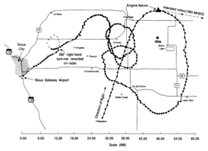 United Airlines Flight 232 - Radar plot of the plane's flight path, from the NTSB report
