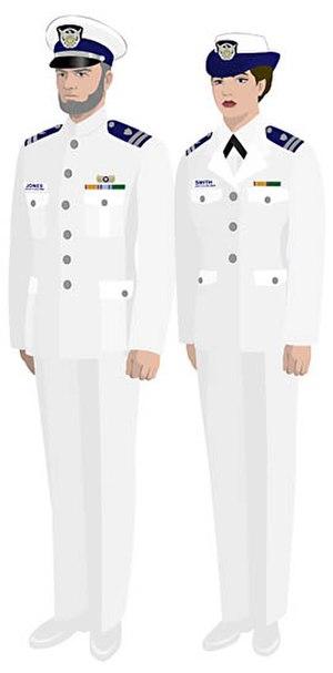 Uniforms of the United States Coast Guard Auxiliary - Image: USCGAUX Service Dress White