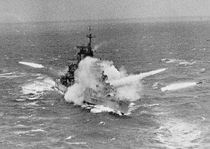 Albany-class cruiser - Image: USS Albany (CG 10) firing missiles 1963