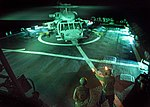 USS Mahan conducts flight operations. (31982170981).jpg