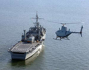 USS Nashville (LPD-13) - Image: USS Nashville LPD 13 with Fire Scout
