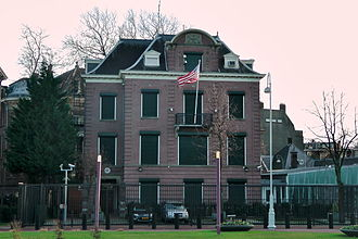 Relinquishment of United States nationality - The State Department now requires that a relinquisher seeking to obtain a Certificate of Loss of Nationality attend an in-person interview at a U.S. diplomatic mission abroad, such as the U.S. Consulate in Amsterdam (pictured), to assess the person's intent towards U.S. citizenship.
