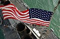 US Navy 030426-N-6141B-011 Stars ^ Stripes flying boldly as seen from the crow's nest aboard the guided missile destroyer USS Donald Cook (DDG 75) as it transits the Suez Canal.jpg