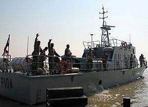 Iraqi Navy - Umm Qasr, Iraq (30 Sept. 2004), Iraqi sailors celebrate as they get underway for the first time.