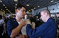 US Navy 050201-N-7833F-001 Sailors assigned to the aircraft carrier USS Carl Vinson (CVN 70), receive smallpox vaccinations as a precautionary measure in preparation for their regularly scheduled deployment.jpg