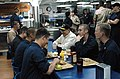 US Navy 061125-N-5972H-103 Sailors on board the guided-missile destroyer USS Mason (DDG 87) enjoy lunch with Secretary of the Navy (SECNAV) The Honorable Dr. Donald C. Winter.jpg