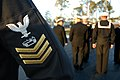 US Navy 081113-N-1057H-426 Naval Mobile Construction Battalion (NMCB) 11 stands by for a service dress blues uniform inspection in preparation for the seasonal uniform switch.jpg