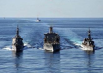 USNS Tippecanoe (T-AO-199) - Image: US Navy 101205 N 2013O 034 The Military Sealift Command fleet replenishment oiler USNS Tippecanoe (T AO 199) refuels the Japan Maritime Self Defens