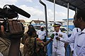 US Navy 110616-N-RB564-054 Cmdr. Tim Keeton is interviewed by Cameroonian media following a dedication ceremony at the free military hospital's new.jpg