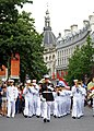 US Navy 110903-N-AQ172-286 Gunnery Sgt. Benjamin Becker, drum major for the Commander, U.S. Naval Forces Europe Band, leads the band during a World.jpg