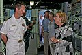 US Navy 111127-N-ER662-585 U.S. ambassador to Timor-Leste Judith Fergin, right, speaks with Cmdr. Chris Adams, executive officer of the Arleigh Bur.jpg