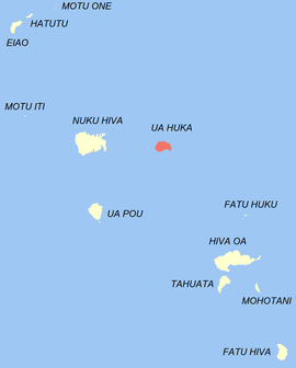 Location of the commune (in red) within the Marquesas Islands