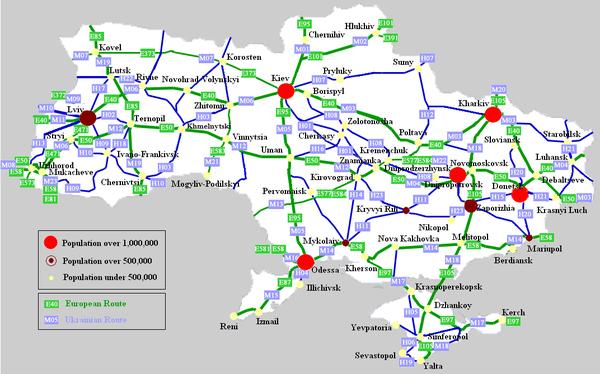Схема крупнейших автострад