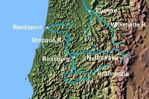 Oregon wine - Umpqua River with tributaries