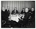 """Unidentified men sit at a table with U.S. House of Representatives member Thomas P. """"Tip"""" O'Neill, Mayor John F. Collins and Governor John A. Volpe (12191477456).jpg"""