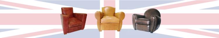 trois fauteuils confortables en cuir sur fond d'Union Jack