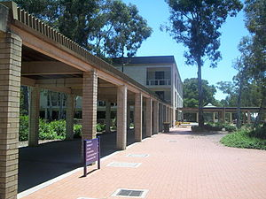 University of Canberra - Along the UC concourse, towards the Library.