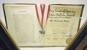 Silver Buffalo Award - Silver Buffalo award and citation presented to the Unknown Scout
