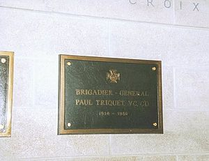 Paul Triquet - Memorial plaque at Mount Royal Crematorium