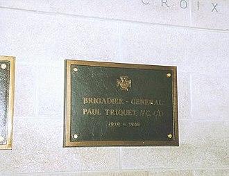 Paul Triquet - Memorial plaque at Mount Royal Crematorium