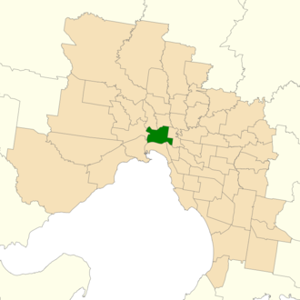 Electoral district of Melbourne - Location of Melbourne (dark green) in Greater Melbourne