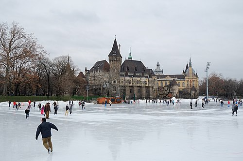 The City Park Ice Rink located in the City Park, the Vajdahunyad Castle is in the background Vajdahunyad vara telen a jegpalyaval.jpg