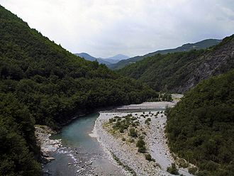 Bobbio - The Trebbia valley in July, a few kilometres upstream from Bobbio.