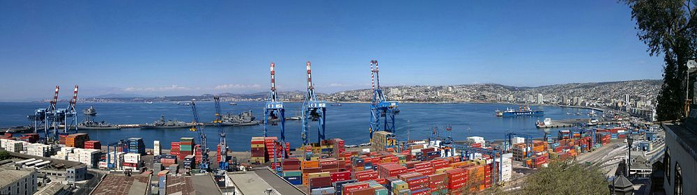 Preteratentante la havenon de Valparaíso de la vidpunktomaja Dudeko, Artillery Hill.
