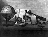 Vanitas still life with books, a globe, a skull, a violin and a pocket watch.jpg
