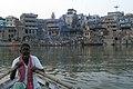 Varanasi, India, Cremation in progress 2.jpg