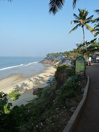 Beaches in Kerala - Varkala beach in Thiruvananthapuram district. It is the only place in southern Kerala where cliffs are found adjacent to the Arabian Sea.